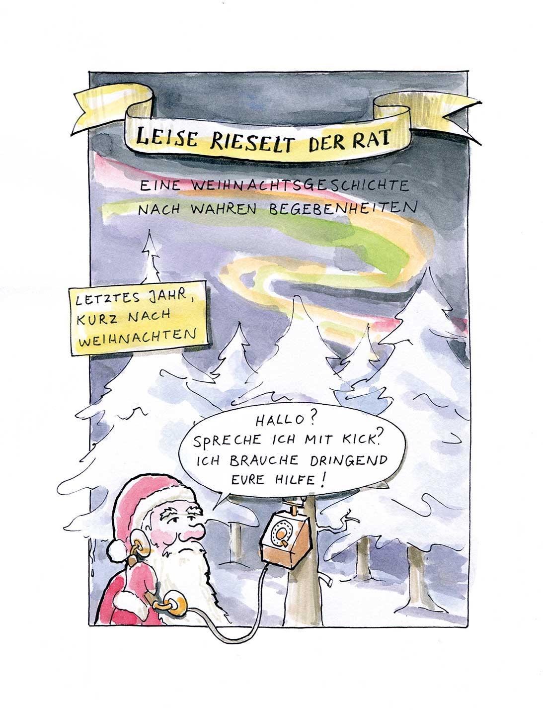 Weihnachten. Weihnachtsmann braucht Hilfe. Cartoon. Beratung.
