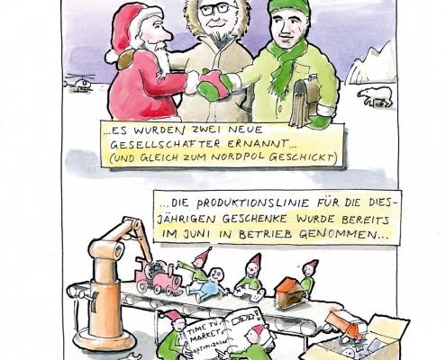 Weihnachten. Produktionslinie für Geschenken. Prozessoptimierung. Cartoon