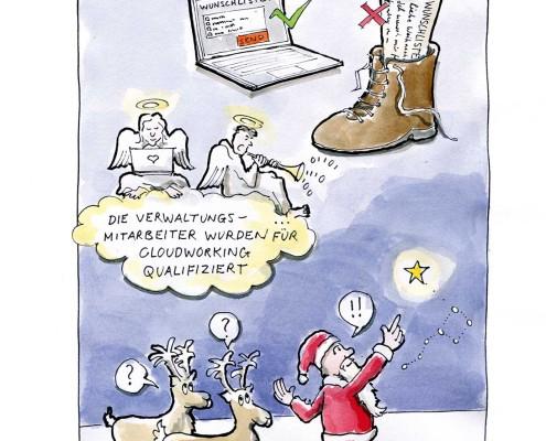 Weihnachtsmann coaching führungskompetenz. Cartoon