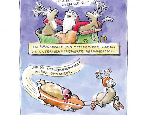 Weihnachtsmann und Renntiere singen und verinnerlichen die Unternehmenswerte. Optimierung der Lieferkette. Cartoon. Lustig. Christian Ridder. Kick Consulting